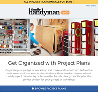 Organize your garage or workshop with these project plans.