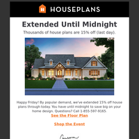 Until Midnight, Get 15% off House Plans + See Tiny Homes