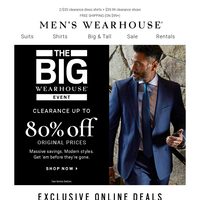 The Big Wearhouse Event ends tomorrow! $69.99 clearance suits + MORE
