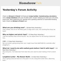 Yesterday's Forum Activity (from HomeBrewTalk.com - Beer, Wine, Mead, & Cider Brewing Discussion Community.)