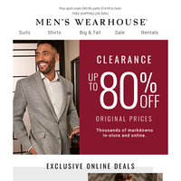 Clearance on your favorite styles! Suits $69, Dress Shirts 2/$35, Shoes $39.99