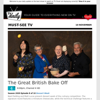 Don't miss: The Great British Bake Off at 8:00pm on Channel 4 HD