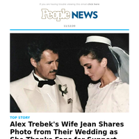 Alex Trebek's wife Jean shares photo from their wedding as she thanks fans for support after husband's death