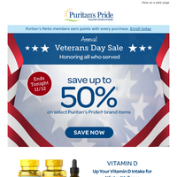 Annual Veterans Day Sale: 50% off ENDS TODAY