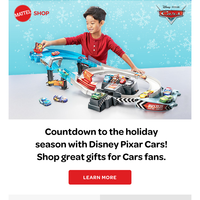 Ramp up the holiday excitement for your mini racer with Disney Pixar Cars