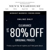 Time's almost up for Midnight Madness Deals! $99.99 Clearance Designer Suits + MORE