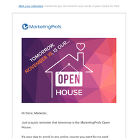 Mark your calendars—Open House tomorrow!
