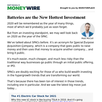 MoneyWire: Batteries are the New Hottest Investment