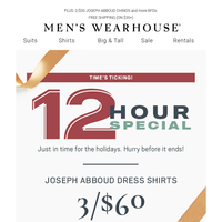 Today only! 3/$60 Joseph Abboud dress shirts—12-Hour Special