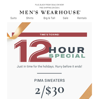 12 Hours Only! 2/$30 Pima sweaters