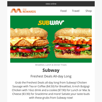 {NAME}, 💚 The Freshest Subway Deals all-day long on meREWARDS! And offers on Fashion, Food, Beauty, Electronics & more!