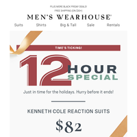 12-Hour Flash Deal! $82 Kenneth Cole Reaction suits.