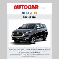 Innova Crysta facelift price | Best-selling cars & bikes | Nios Turbo vs Polo TSI & more