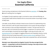 Essential California: L.A. veers closer to stay-at-home order