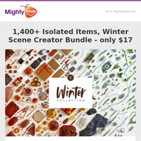 1,400+ Isolated Items, Winter Scene Creator Bundle