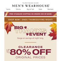 Shop The Big Thanks Event first! Clearance: Up to 80% Off