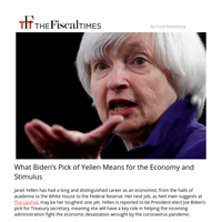 What Biden's Pick of Yellen Means for the Economy and Stimulus