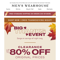 Don't miss The Big Thanks Event! $99.99 designer suits + $39.99 shoes