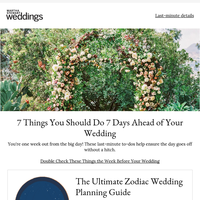 7 Things You Should Do 7 Days Ahead of Your Wedding