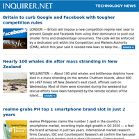 Technology News: Britain to curb Google and Facebook with tougher competition rules; Nearly 100 whales die after mass stranding in New Zealand; realme grabs PH top 1 smartphone brand slot in just 2 years
