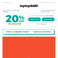 JOY TO THE SALE: 40% off select Graco car seats + 20% off select Baby Jogger & UPPAbaby strollers + this coupon is available.