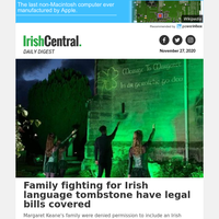 Family fighting for Irish language tombstone have legal bills covered