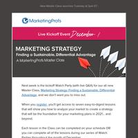 [Next Week] Marketing Strategy class begins