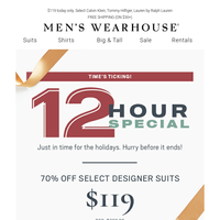 A 12-Hour Special you can't miss—70% OFF designer suits