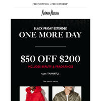 EXTENDED: $50 off (beauty, too!) + 75% off
