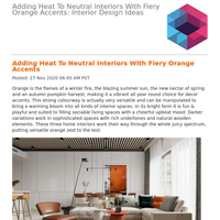 Adding Heat To Neutral Interiors With Fiery Orange Accents: Interior Design Ideas