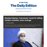 Iran blames Israel for killing nuke chief, vows revenge * Security said raised at embassies * Fakhrizadeh long seen as Mossad target * 'Saudis a wait Biden on Israel deal'