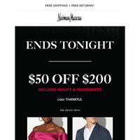 $50 off (includes beauty) ends tonight + 75% off!