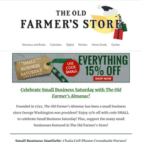 Shop Small: 15% Off The Old Farmer's Store!