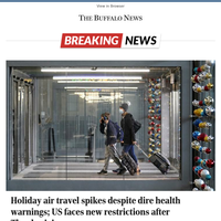 Holiday air travel spikes despite dire health warnings; US faces new restrictions after Thanksgiving