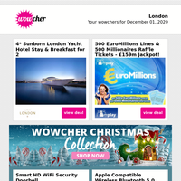 4* Sunborn London Yacht Hotel Stay for 2 £99 | 500 EuroMillions Lines & Raffle Tkts £9 | HD WiFi Security Doorbell | Apple Compatible Wireless Earbuds £24.99 | Black Friday Mystery Deal - PS5 & More!