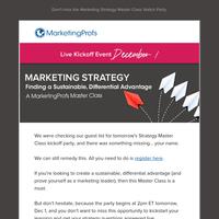 [Tomorrow] Kickstart your marketing strategy