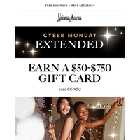 Extended: $50-$750 gift card (includes beauty!)