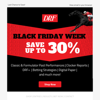 FINAL HOURS! DRF's Black Friday Sales