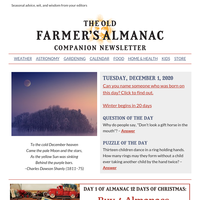 December events, winter car kit, Dec./Jan. forecasts