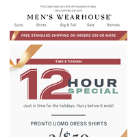 12-hour Special: 3/$50 Pronto Uomo dress shirts. Today only!