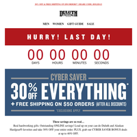 LAST DAY For 30% OFF Any Order - Cyber Savers!