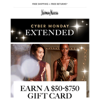 2 more days to earn your $750 gift card + free beauty gift!