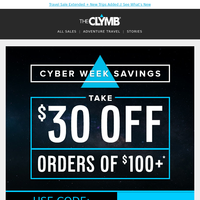 Cyber Monday Extended: $30 Off Sitewide, Including inov-8, Klymit, RIDE, POP Board Co., Slippers, Royal Robbins, Craft, and More