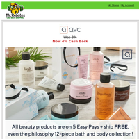 QVC: All Beauty Products with 5 Easy Pays + Free Shipping + 4% Cash Back!