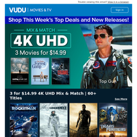 Shop 3 Movies for $14.99 4K UHD Mix & Match