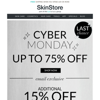 Cyber Monday FINAL HOURS ⏰ Get your EXTRA 15% off before it's too late!