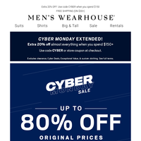 Cyber Monday Extended! 30% off shoes + up to 60% Off Suits + 20% Off your order