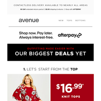 Outfitting Made Easier With $16.99* Knit Tops + $19.99* Fashion Tops + $18.99* Dresses & Bottoms