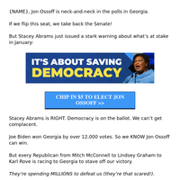 Stacey Abrams' 𝑺𝑻𝑨𝑹𝑲 warning for {NAME}
