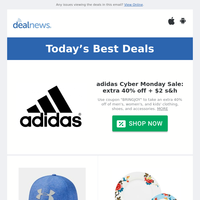 Up to 40% off adidas Cyber Monday Sale | Under Armour Men's Outlet from $5 | Nike Men's Basketball Hoodies from $28